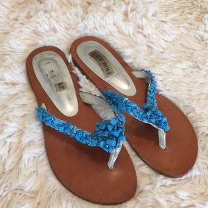 Lilly Holt Turquoise Stone Flip Flop Sandals